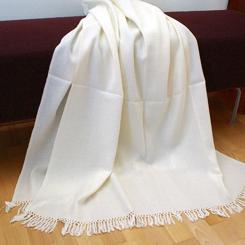 Meditation shawl Kashmiri, Creamwhite
