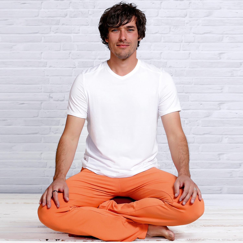 Yoga T-Shirt Männer, Bambus, Weiss