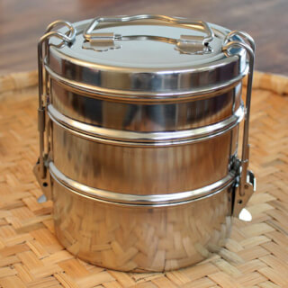 "Tiffin-Box ""Bombay Tiffin"" triple, stainless steel"