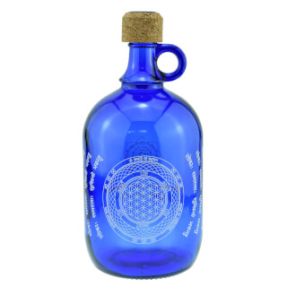 Devi Water Bottle cobalt blue, Flower of Life