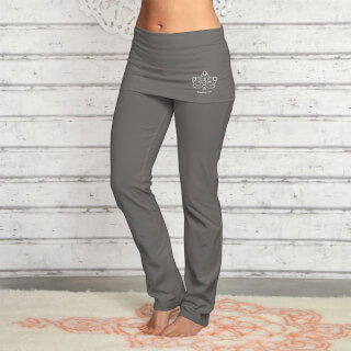 Yoga Pants long, with skirt-waistband, tourmaline-grey