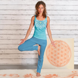 Yoga Pants long, with skirt-waistband, Aloha Blue
