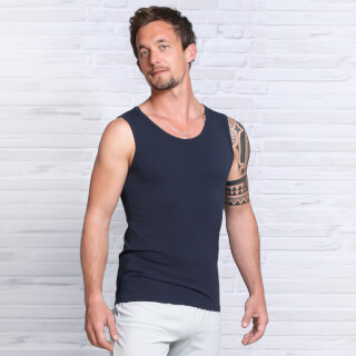 Yoga Tank Top Men Bamboo, Dark Blue