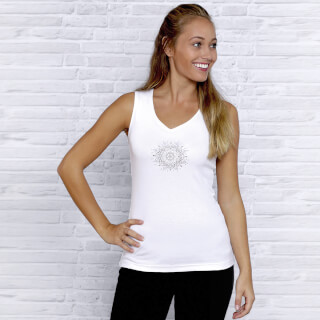 "Yoga Top Women ""Flower of Harmony"", Weiss"