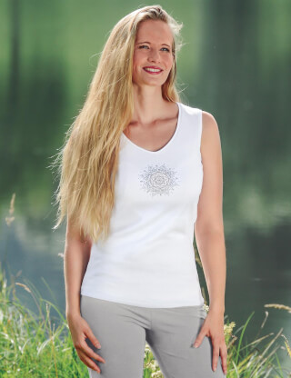 "Yoga Top Women ""Flower of Harmony"", white"