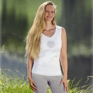 "Yoga Top Women ""Flower of Harmony"", blanc"
