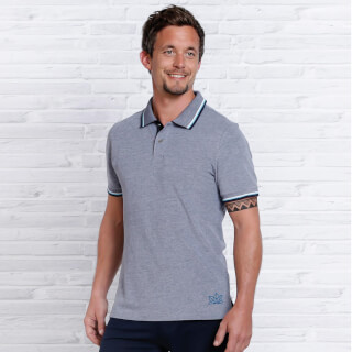 Polo Shirt for Men Spirit of OM, Dark Blue-White blend