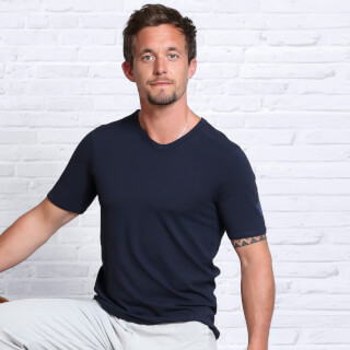Men's Yoga T-Shirt, Bamboo, Dark Blue
