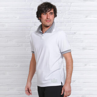 Polo Shirt for Men Spirit of OM, White-Light Grey