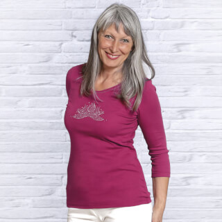 Yoga-Shirt Ananda Lotus ¾ arm, Rose-Red