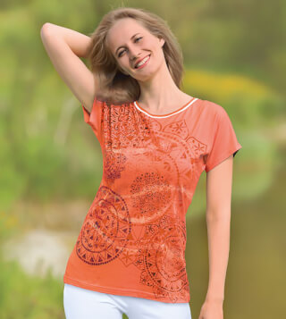 Yoga-Shirt Mandala Dream ¼ arm, Papaya