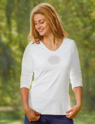 "Yoga-Shirt ""Flower of Life""-Lotus ¾-Arm, Weiss"