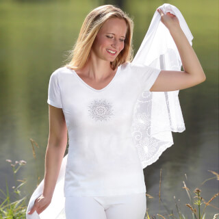 "Yoga-Shirt 1/4-Arm ""Flower of Harmony"", Weiss"