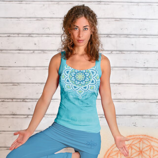 "Yoga Top Bambou ""Chakra"", Bleu Tropical"