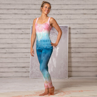 Yoga-Leggings Spirit of OM, indigo-pêche