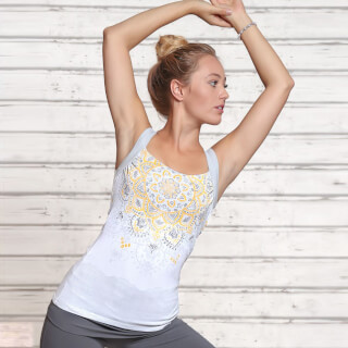 "Yoga Top Bambou ""Chakra"", blanc-argent-soleil"