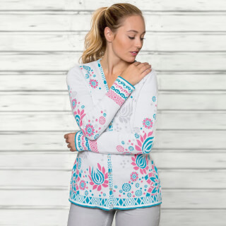 Cardigan Jacquard, Nature-Lagoon-Flamingo