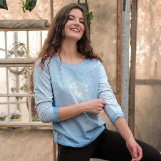 Peaceful Lotus Shirt ¾-Arm mit Spitze, Sky-Blue
