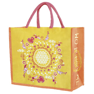 "Jute bag ""Flower of Life"" Spirit of OM, orange"
