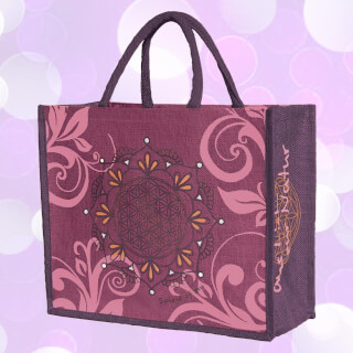 "Jute bag ""Flower of Life"" by Spirit of OM, Aubergine"