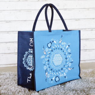 "Jute bag ""Flower of Life"" Spirit of OM, turquoise-blue"