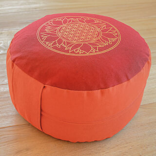 Meditation cushion Flower of Life, red-terra