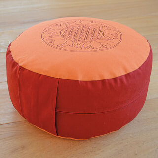 Meditation cushion Flower of Life, orange-red