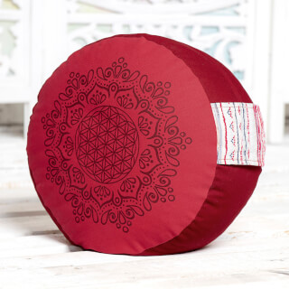 Meditation cushion Flower of Life, hibiscus-red