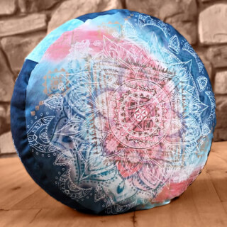 Meditation Cushion Round, Indigo-Peach