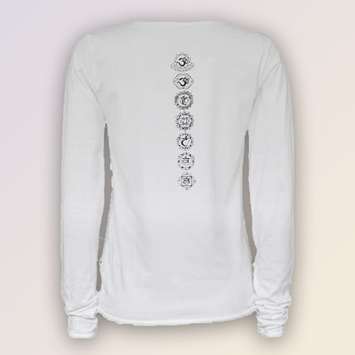 Chakra ladies long sleeve yoga shirt white Yoga shirts with sleeves