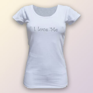 "PRIYA Damen Yoga T-Shirt ""I Love Me"", weiss"