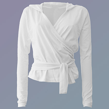 Girija Yoga Wrap Jacket with hoody, white