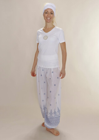 Yoga trousers - Harem trousers PATIALA Ladies, White-Blue