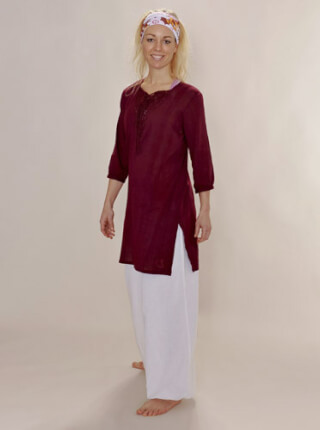 Tunika Yoga Shirt ANANDPUR for Ladies, Wine Red
