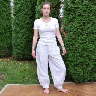 Yogahose Damen Baggy Style, Weiss