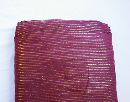 Turban cloth Golden Stripes, wine red, 1 meter