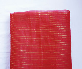 Turbanstoff Golden Stripes, Tief-Rot, 1 Meter
