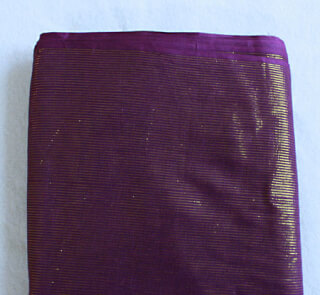 Turban cloth Golden Stripes, dark violet, 1 meter