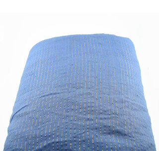 Turbanstoff Golden Stripes, Sky Blue, 1 Meter