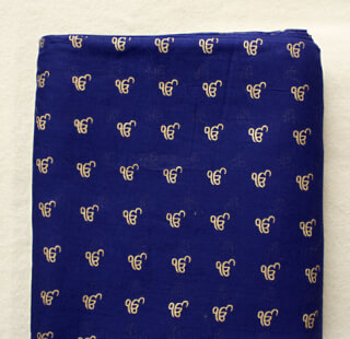 Turban cloth Dark Blue + Golden Ek Ong Kar's, 1 meter