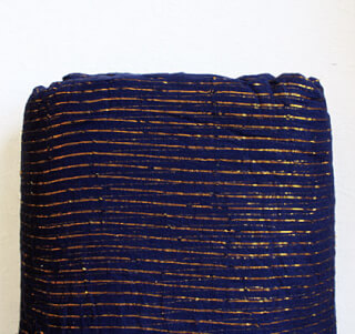 Turbanstoff Golden Stripes, Dunkelblau, 1 Meter