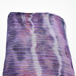Turbanstoff *Batik*, Gold & Silver Stripes, Violet-Blue