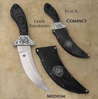 "Kirpan Pakkawood ""Black"", Engraved Fittings"