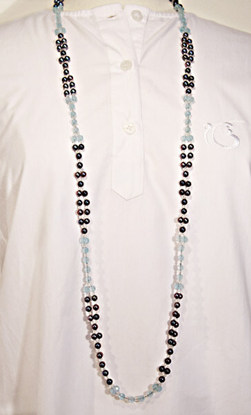 Tantric Necklace Mala Black Pearl (4 mm) & Moonstone