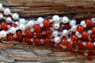 Tantric Necklace Mala Carnelian, Pearl & Crystal