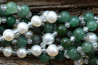 Tantric Necklace Mala Green Aventurine, Pearl & Crystal
