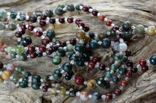 Tantric Necklace Mala Indian Agate, Bloodstone, Jasper, Crystal