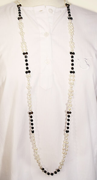 Tantric Necklace Mala facetted Carneol, Pearl & Crystal