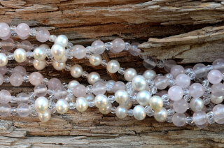 Tantric Necklace Mala Rose Quartz, Pearle & Crystal