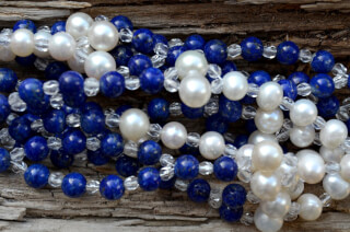 Tantric Necklace Mala Lapis Lazuli, Pearl & Crystal
